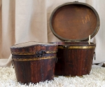 Vintage Wooden Hat Boxes 24cm (h) and 26cm (h)