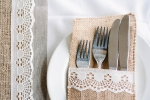 Hessian and lace napkin pocket